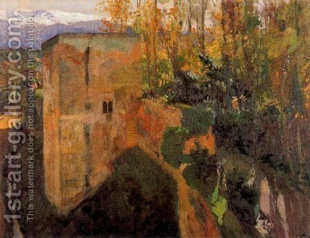 Tower of the Infantas, the Alhambra by Joaquin Sorolla y Bastida - Reproduction Oil Painting