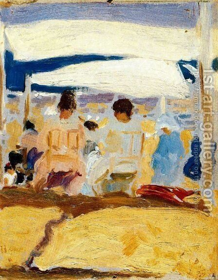 Under the awning (San Sebastian) by Joaquin Sorolla y Bastida - Reproduction Oil Painting