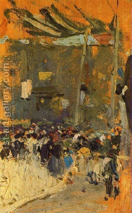 Valencia Street with awnings by Joaquin Sorolla y Bastida - Reproduction Oil Painting