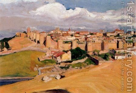 View of Avila by Joaquin Sorolla y Bastida - Reproduction Oil Painting