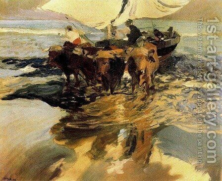 Waiting for fishing (beach Valencia) by Joaquin Sorolla y Bastida - Reproduction Oil Painting