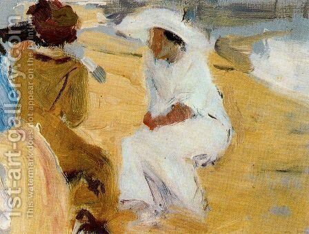 Women on the beach at San Sebastian by Joaquin Sorolla y Bastida - Reproduction Oil Painting