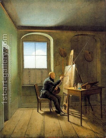 Georg Friedrich Kersting. Friedrich's Studio by Caspar David Friedrich - Reproduction Oil Painting