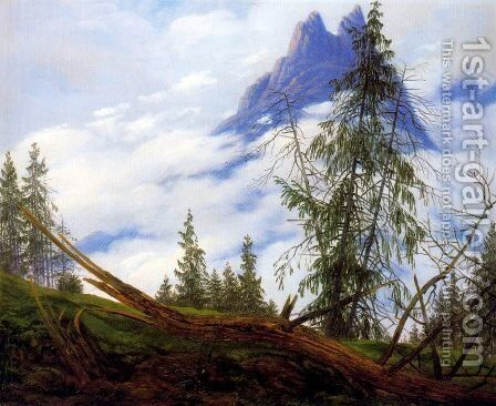 Mountain Peak with Drifting Clouds by Caspar David Friedrich - Reproduction Oil Painting