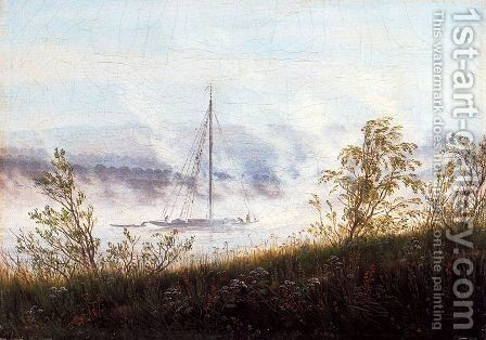 Ship on the River Elbe in the Early Morning Mist by Caspar David Friedrich - Reproduction Oil Painting