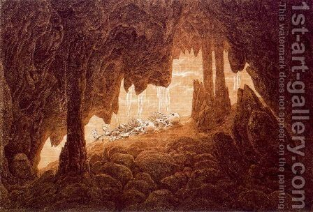 Skeletons in a Cave with Stalacties by Caspar David Friedrich - Reproduction Oil Painting