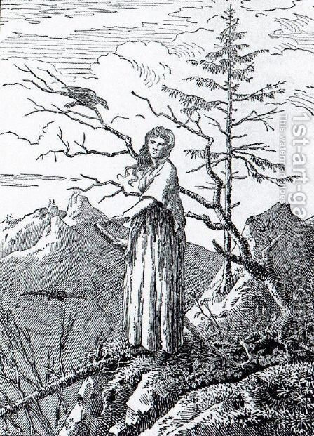 The Woman with the Raven at the Abyss by Caspar David Friedrich - Reproduction Oil Painting