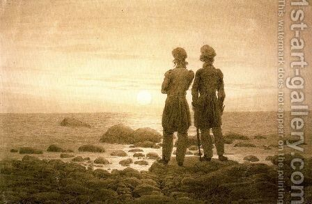 Two men at Moonrise by Caspar David Friedrich - Reproduction Oil Painting
