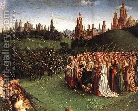 The Ghent Altarpiece, Adoration of the Lamb [detail top right 1] by Jan Van Eyck - Reproduction Oil Painting