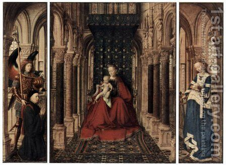 Marienplatz altar, Dresdner triptych, rear of the wing, scene, Maria proclamation by Jan Van Eyck - Reproduction Oil Painting