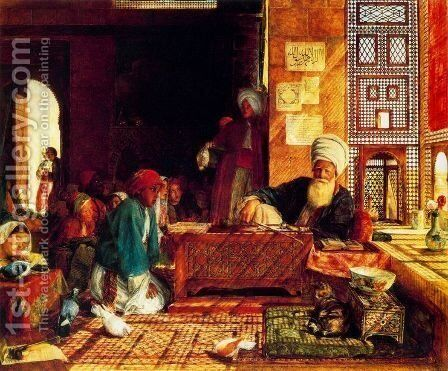 A Turkish School in the Vicinity of Cairo by John Frederick Lewis - Reproduction Oil Painting