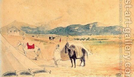 Encampment in Morocco, between Tangiers and Meknes by Eugene Delacroix - Reproduction Oil Painting