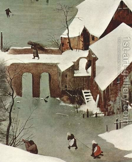 Hunters in the snow (detail 1) by Pieter the Elder Bruegel - Reproduction Oil Painting