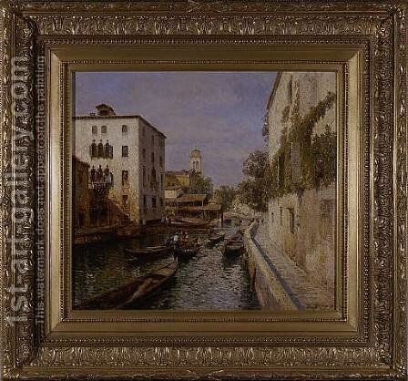 Canal In Venice by Herman Herzog - Reproduction Oil Painting