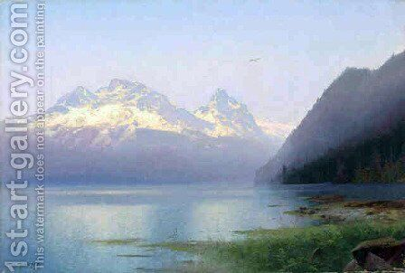 Sunset by Herman Herzog - Reproduction Oil Painting