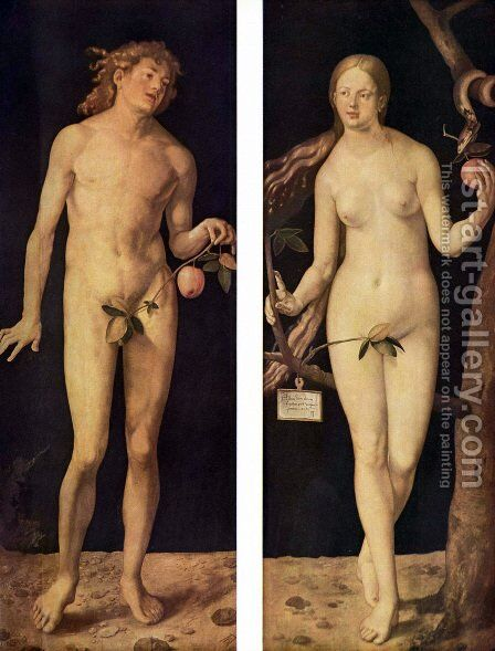 Adam and Eve 2 by Albrecht Durer - Reproduction Oil Painting