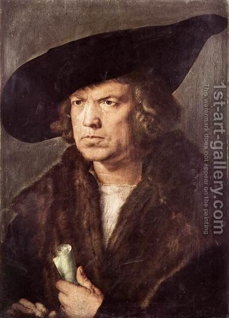 Portrait of a Man with Baret and Scroll by Albrecht Durer - Reproduction Oil Painting