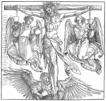 Christ on the Cross with Three Angels by Albrecht Durer - Reproduction Oil Painting