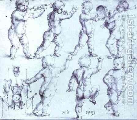 Putti Dancing and Making Music by Albrecht Durer - Reproduction Oil Painting