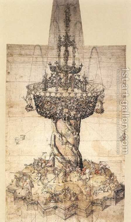 Sketch of a Table Fountain by Albrecht Durer - Reproduction Oil Painting