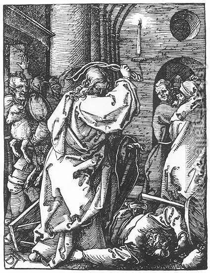 Small Passion, 07. Christ Driving the Merchants from the Temple by Albrecht Durer - Reproduction Oil Painting