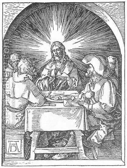Small Passion, 32. Christ and the Disciples at Emmaus by Albrecht Durer - Reproduction Oil Painting