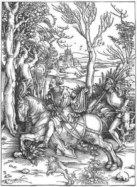 The Knight and the Landsknecht by Albrecht Durer - Reproduction Oil Painting