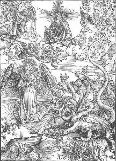 The Revelation of St John, 10. The Woman Clothed with the Sun and the Seven-headed Dragon) by Albrecht Durer - Reproduction Oil Painting