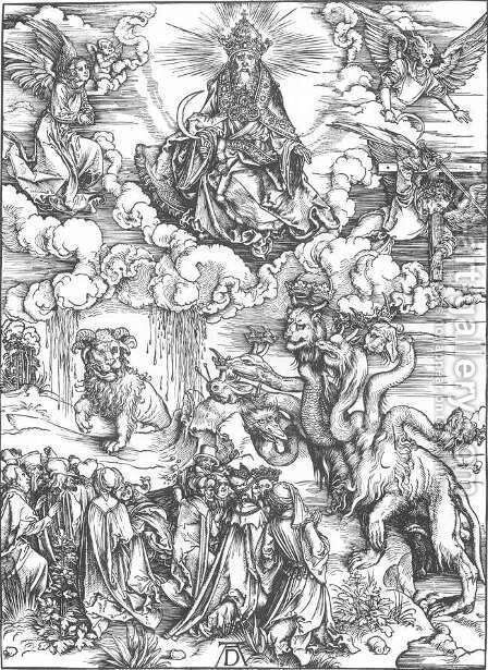 The Revelation of St John, 12. The Sea Monster and the Beast with the Lamb's Horn by Albrecht Durer - Reproduction Oil Painting