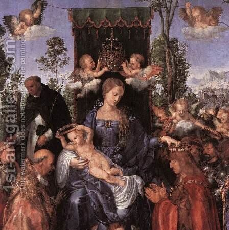 Feast of the Rose Garlands (detail 1) by Albrecht Durer - Reproduction Oil Painting