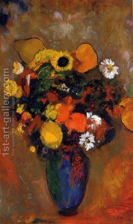 Flowers in a Green Vase by Odilon Redon - Reproduction Oil Painting