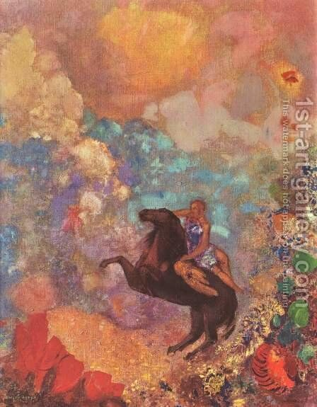 Muse on Pegasus by Odilon Redon - Reproduction Oil Painting