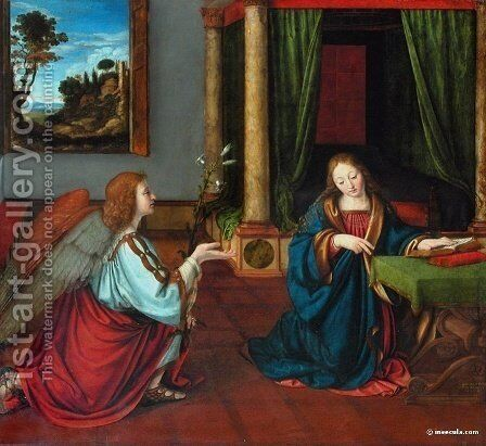 The Annunciation by Andrea Solari - Reproduction Oil Painting