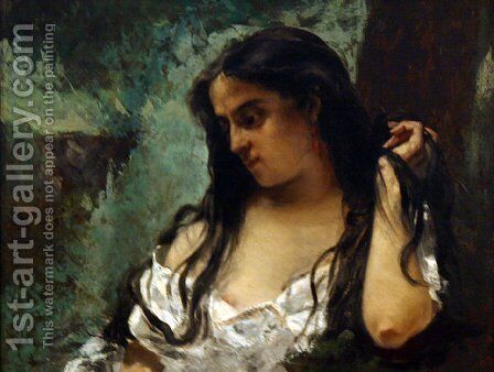 Gypsy in Reflection by Gustave Courbet - Reproduction Oil Painting