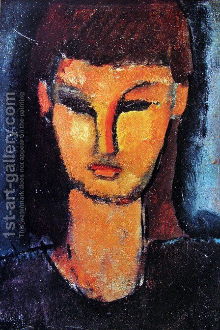 Head of a young woman 2 by Amedeo Modigliani - Reproduction Oil Painting