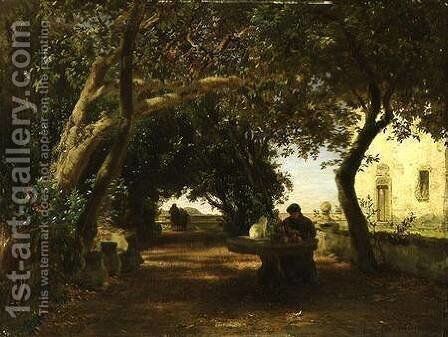 Italian Cloisters by Andreas Achenbach - Reproduction Oil Painting