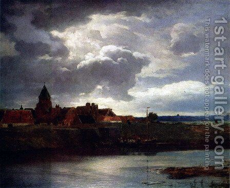 Landscape with a River by Andreas Achenbach - Reproduction Oil Painting