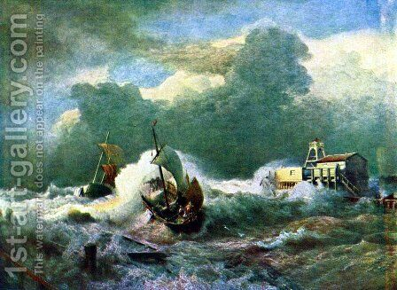 Lighthouse at Ostend by Andreas Achenbach - Reproduction Oil Painting