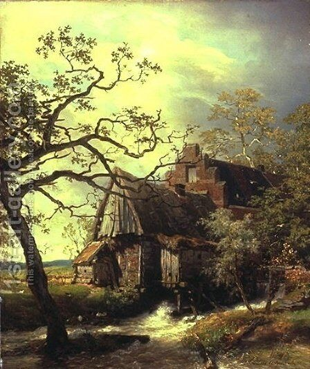 Mill on the river, landscape with watermill by Andreas Achenbach - Reproduction Oil Painting