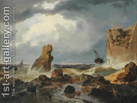 Surf on a Rocky Coast by Andreas Achenbach - Reproduction Oil Painting