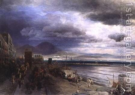The Coast of Naples by Andreas Achenbach - Reproduction Oil Painting