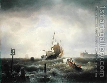 The Entrance to the Harbour at Hellevoetsluys by Andreas Achenbach - Reproduction Oil Painting