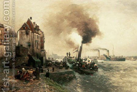 The coal gate at the bank of the Rhine of Düsseldo by Andreas Achenbach - Reproduction Oil Painting