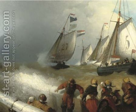 The race by Andreas Achenbach - Reproduction Oil Painting