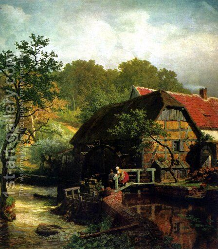 Westphalian watermill by Andreas Achenbach - Reproduction Oil Painting