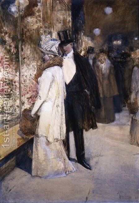A New Year's Nocturne, New York by Childe Hassam - Reproduction Oil Painting