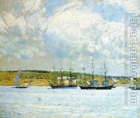 A Parade of Boats by Childe Hassam - Reproduction Oil Painting