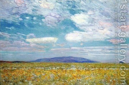 Alkali, Rabbit Brush and Grease Wood Squaw Cap, Oregon Trail by Childe Hassam - Reproduction Oil Painting