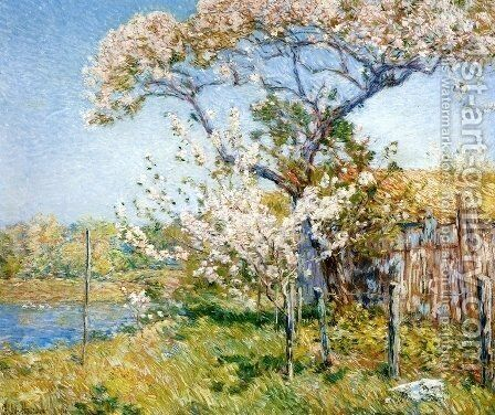 Apple Trees in Bloom, Old Lyme by Childe Hassam - Reproduction Oil Painting