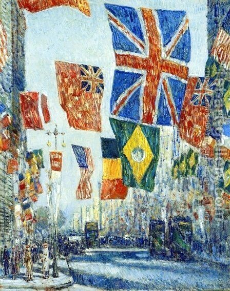 Avenue of the Allies, Great Britain, 1918 by Childe Hassam - Reproduction Oil Painting
